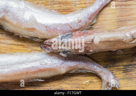 Frozen fish tails and the head top view - Stock Photo