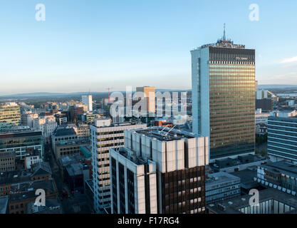 High viewpoint view over Manchester City Centre towards City Tower - Stock Photo