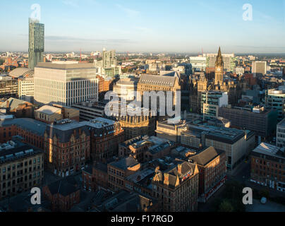 High viewpoint view over Manchester City Centre - Stock Photo