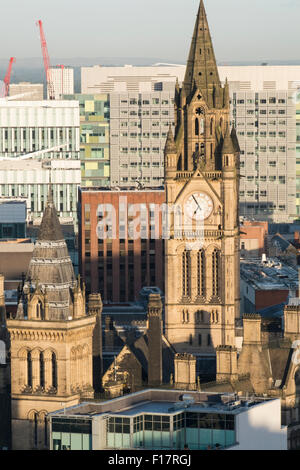 High viewpoint of manchester Town Hall clock tower - Stock Photo