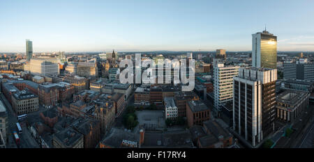 High viewpoint panoramic image of Manchester City centre - Stock Photo