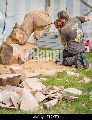 Knutsford, Cheshire, UK, 29th Aug, 2015. The 11th English Open Chainsaw Carving Competition Cheshire Game & Country - Stock Photo