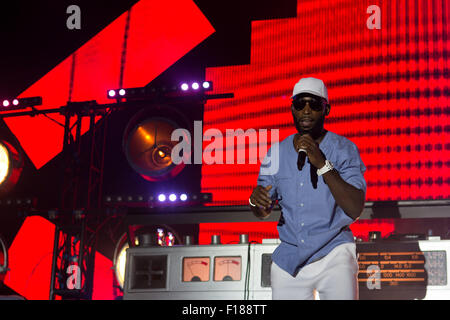Portsmouth, UK. 29 August 2015. Tinie Tempah headlining live on stage at Victorious Festival on Saturday Credit: - Stock Photo