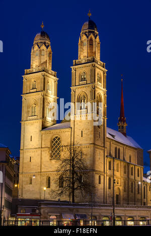The famous Grossmunster church in Zurich at night - Stock Photo