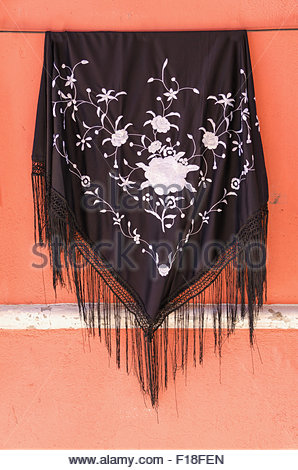 Manila shawl. Vintage spanish clothes in fairs and festive days - Stock Photo