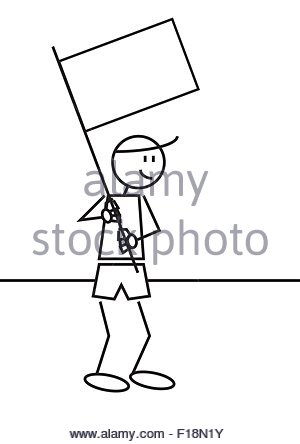 Vector illustration of a boy with a white flag. Stick figure - Stock Photo
