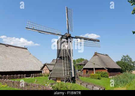 post mill, open air museum ´Rieck Haus´, Curslack, Vierlande, Hamburg, Germany - Stock Photo
