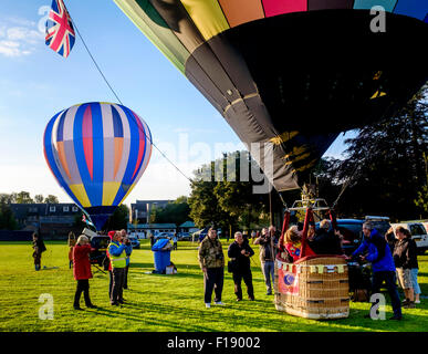 Hot air balloons prepare to launch at the Strathaven Balloon Festival