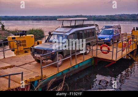 Car Ferry crossing River Nile, Murchison Falls National Park, Uganda, Africa