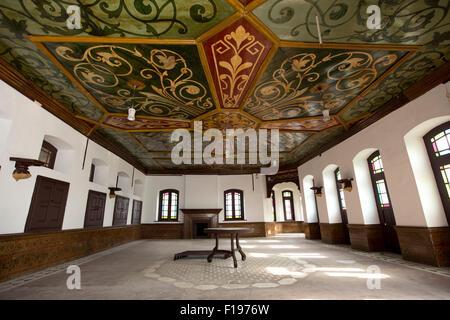 India, Jammu & Kashmir, Srinagar, Khwaja Manzil Nishati house, main meeting room decorated katambandh ceiling - Stock Photo