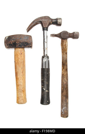 Three hammers, lump,claw and tack hammer isolated against white - Stock Photo