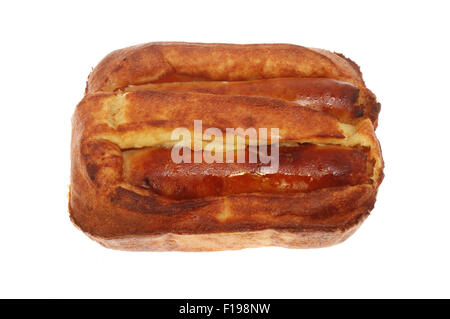 Toad in the hole, sausages baked in batter isolated against white - Stock Photo