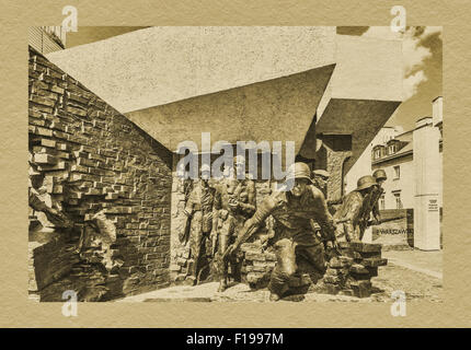The Warsaw Uprising Monument is reminiscent of the fighters of the Warsaw Uprising of 1944, Warsaw, Masovia, Poland, - Stock Photo