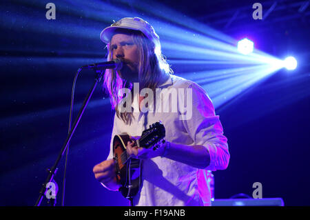 Berlin, Germany. 28th Aug, 2015. Friska Viljor performs on stage during the Pure & Crafted Festival at Postbahnhof - Stock Photo
