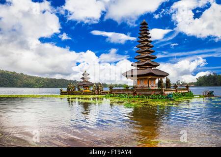 mysterious temples of Bali island - famous Ulun Danu in Bratan lake - Stock Photo