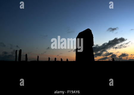 Neolithic standing stones in silhouette, Ring of Brodgar, Mainland Orkney, Scotland, UK - Stock Photo