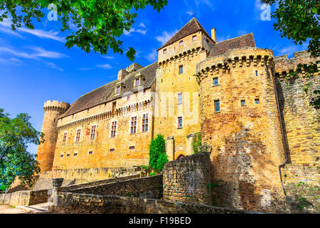 impressive medieval castle Castelnau in France (Prudhomat, Lot department) ,France. - Stock Photo