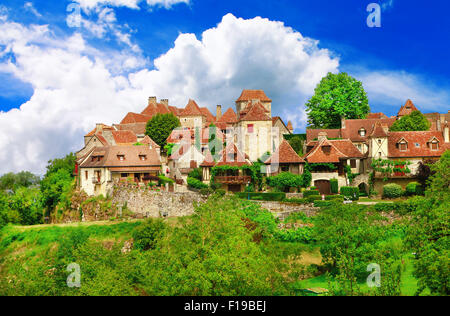 Loubressac - considering one of the most beautiful villages of France (Dordogne) - Stock Photo