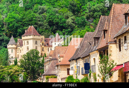 La Roque-Gageac in Dordogne Aquitaine - one of the most beautiful villages of France - Stock Photo