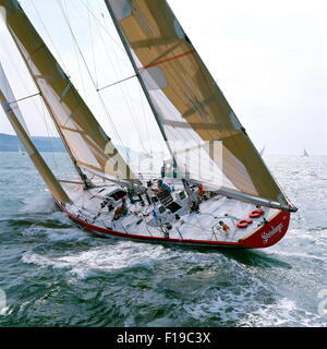 AJAXNETPHOTO. 1989. SOLENT, ENGLAND. FASTNET RACE 1989 - STEINLAGER II / SKIPPER : PETER BLAKE (NZL) OFF THE NEEDLES. - Stock Photo
