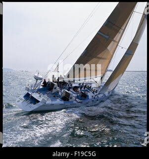 AJAXNETPHOTO - 1989 - SOLENT, ENGLAND. - FASTNET RACE - UNION BANK OF FINLAND AT THE START. PHOTO:JONATHAN EASTLAND/AJAX - Stock Photo