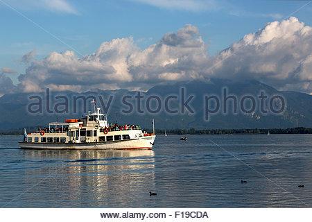 Steamship at lake Chiemsee in Bavaria, South Germany - Stock Photo