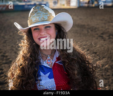 Cow girl, Philomath Frolic & Rodeo, Oregon, USA - Stock Photo