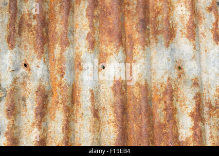 Rusty corrugated metal roofing texture - Stock Photo