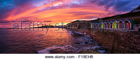 A beautiful sunset of Barry Island made up of 5 separate images stitched together to make one large panoramic image. - Stock Photo
