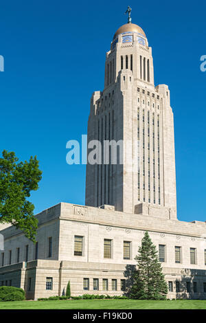 Nebraska, Lincoln, State Capitol Building, built 1922-32 - Stock Photo