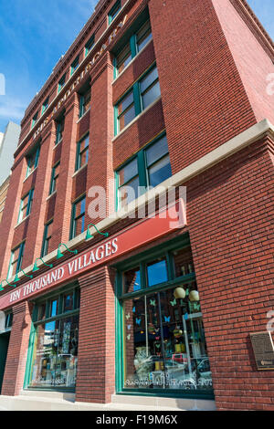 Nebraska, Lincoln, Historic Haymarket District, renovated  warehouse district, Fairly Traded International Handcrafts - Stock Photo