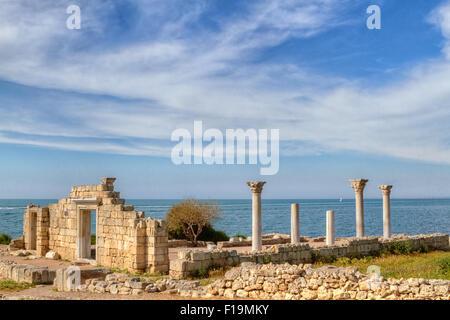 Ancient Greek basilica and marble columns. Chersonesus Taurica near Sevastopol in Crimea - Stock Photo