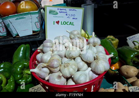 Basket of fresh organic garlic and other vegetables at the downtown farmer's market in St. Catharines, Ontario, - Stock Photo