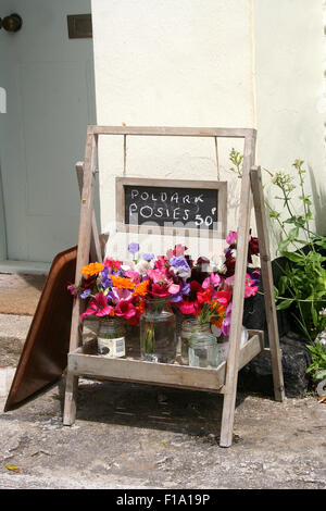 Pansies for sale outside a cottage in Charlestown, Cornwall, invoke the Poldark craze - Stock Photo