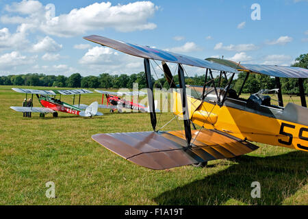 Two DH.60 de Havilland Gypsy Moths framed by the wings of a DH.82 Tiger Moth at the International DH Moth Rally - Stock Photo