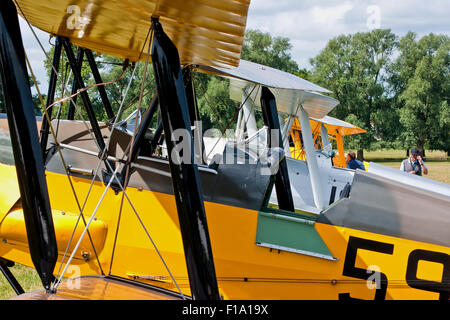 DH.82A Tiger Moth cockpits lined up at the International DH Moth Rally at Woburn Abbey August 2015 - Stock Photo
