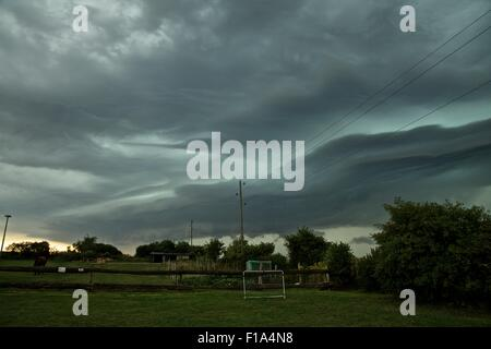 Menz, Germany, 30th August 2015, A severe storm system which formed over the Benelux Countrys approaching North - Stock Photo