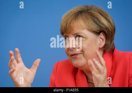Berlin, Germany. 31st Aug, 2015. German Chancellor Angela Merkel attends the annual summer press conference in Berlin, - Stock Photo