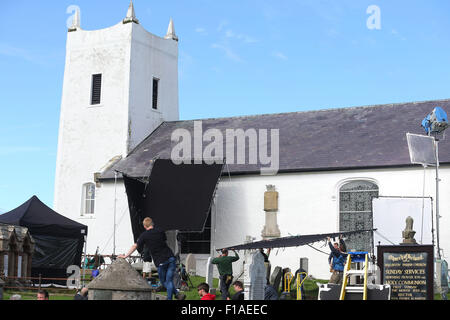 Ballintoy, Co Antrim, UK.  31st August, 2015. cast from 'The Lost City of Z'  Filming is underway in the sleepy - Stock Photo