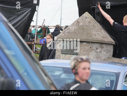 Ballintoy, Co Antrim, UK.  31st August, 2015. Charlie Hunnam who is starring in 'The Lost City of Z'  Filming is - Stock Photo