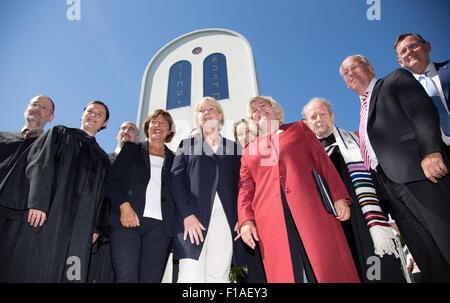 (From left to right) Rabbi Eli Reich, Rabbi Natalia Verzhbovska, cantor Amnon Seelig, the Vice President of the - Stock Photo