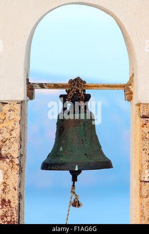 Bell of a greek church on Santorini island - Stock Photo