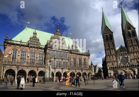 Bremen, Germany, the Bremen Town Hall and the St. Petri Cathedral - Stock Photo