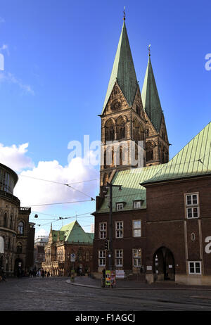 Bremen, Germany, the Dom St. Petri and the Bremen Town Hall - Stock Photo