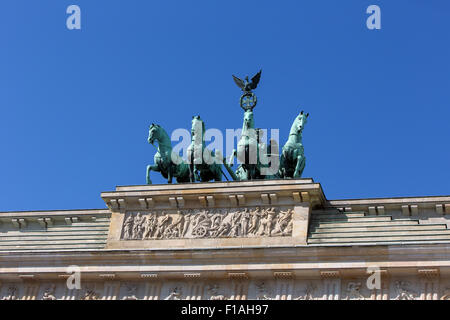 Berlin, Germany, the Quadriga of the Brandenburg Gate on Pariser Platz - Stock Photo