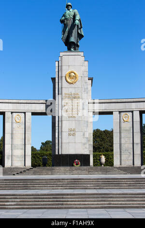 Berlin, Germany, the statue of the Red Army at the Soviet War Memorial in the Tiergarten - Stock Photo
