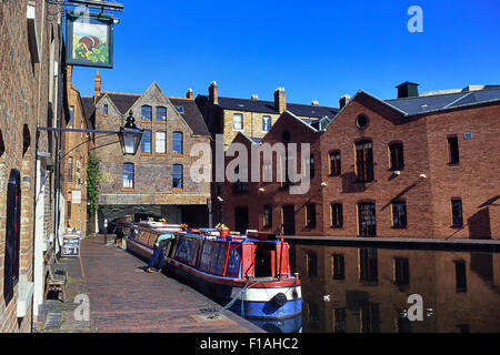 Gas Street Basin Narrow Boat Marina, a canal basin in the centre of Birmingham, England, UK - Stock Photo