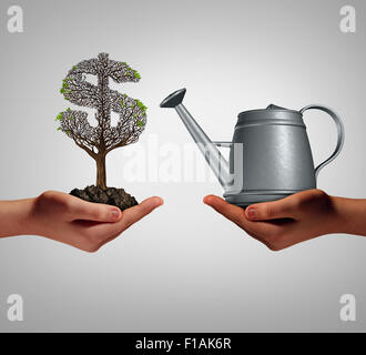 Financial assistance and business help concept as two hands holding a watering can and a struggling money tree as - Stock Photo