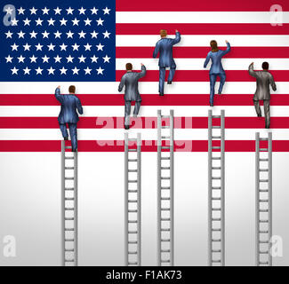 American election concept as a group of candidates from the United States campaigning for president or government - Stock Photo