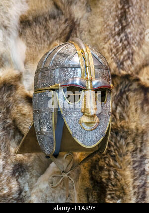 A replica of the Sutton Hoo Helmet in the exhibition hall at Sutton Hoo, Suffolk, England, UK - Stock Photo